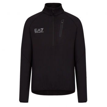 Armani EA7 Mens Half Zip Midlayer in Black