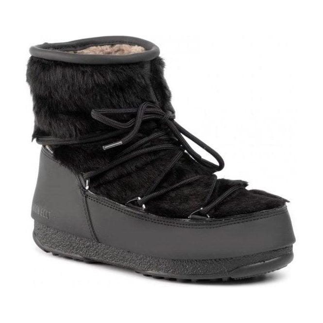 MOON BOOT Monaco Low Fur Winter Boot in Black