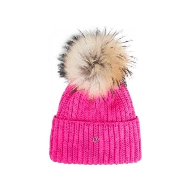 BOGNER Leonie Womens Designer Ski Hat in Pink with Natural Pom