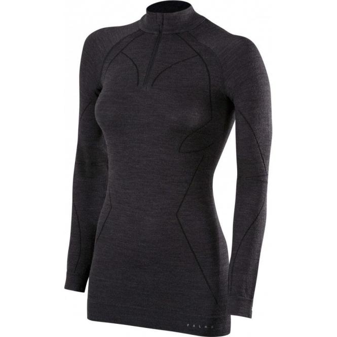 FALKE Womens Wool Tech Zip Shirt Regular Fit in Black