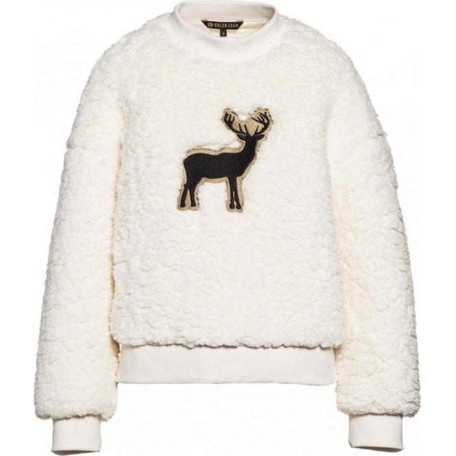 GOLDBERGH Deer Teddy Sweater in Off White