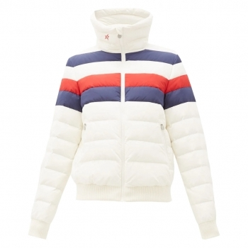 PERFECT MOMENT Queenie Ski Jacket in White/Navy/Red Rainbow