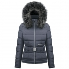 Poivre Blanc Belted Womens Ski Jacket in Gothic Blue