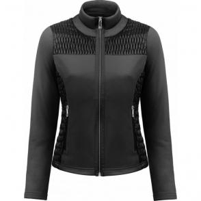 Poivre Blanc Stretch Fleece Jacket In Black