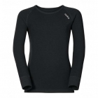 Odlo Warm Kid LS Crewneck Ski Thermal Top in Black