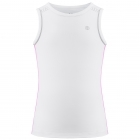 Poivre Blanc Girls Tennis Tank Top in White and Sakura Pink