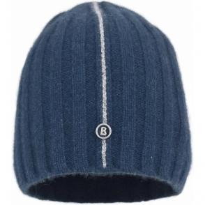 Bogner Denny Mens Designer Ski Hat in Petrol Blue