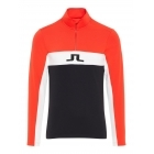 J Lindeberg Kimball Strip T-Neck Field Mens Midlayer in Racing Red
