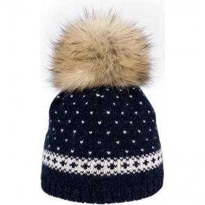 Steffner Flims Pelz Girls Ski Hat in Navy