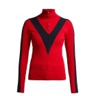 Fusalp Victoire Knit Zip Womens Midlayer in Red with Navy Stripe