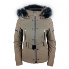 Poivre Blanc Belted Stretch Womens Ski Jacket in Dove Brown