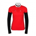 Poivre Blanc Active 1/2 Zip Womens Baselayer Top in Scarlet Red