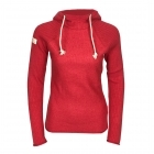 Amundsen Boiled Hoodie Ribbed Womens Knitted Midlayer in Red