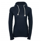 Amundsen Boiled Hoodie Ribbed Womens Knitted Midlayer in Navy