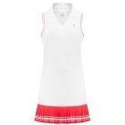 Poivre Blanc Womens Tennis Dress In White and Spritz Red
