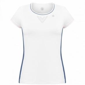 Poivre Blanc Womens Tennis T-Shirt In White And Deep Sea Blue