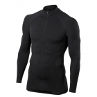 Falke Mens Maximum Warm Zip Shirt Tight Fit in Black