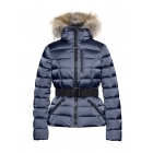 Soldis Womens Jacket in Dark Navy - Saga Fur Trim