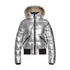 Aura Womens Ski Jacket in Silver - Saga Fur Trim