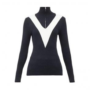 Victoire Womens Knit Zip Midlayer in Dark Blue