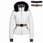 Hida Fur Womens Jacket in White - Saga Fur Trim
