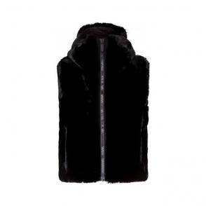 Pegase Womens Faux Fur Gilet in Black