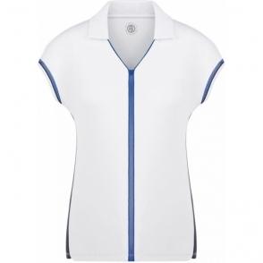 Poivre Blanc Pique Polo Shirt in White/Oxford Blue