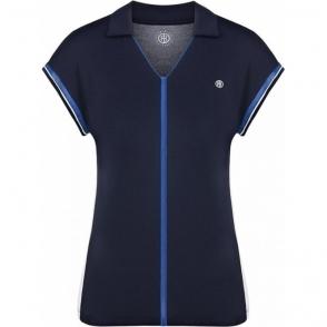Poivre Blanc Pique Polo Shirt in Oxford Blue/White