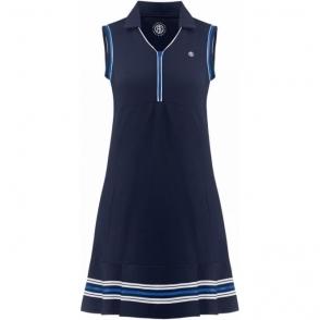 Poivre Blanc Pique Tennis Dress Oxford Blue/White
