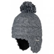 Barts Lucy Earflap Girls Kids Ski Hat in Dark Heather