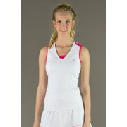 Poivre Blanc Womens Tennis Tank Top in White and Dalhia