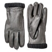 Hestra Deerskin Primaloft Rib Mens Ski Gloves in Black