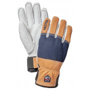 Hestra Army Leather Abisko Mens Ski Glove in Navy and Brown