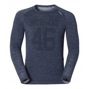 Odlo Panai Revolution Mens Wool Baselayer Top in Navy Melange