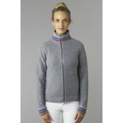 Bogner Carina Womens Knit Midlayer in Grey with Red and Blue stripe