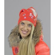 Bogner Petrina Womens Designer Ski Hat in Neon Orange
