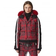 SOS Jacky Womens Ski Jacket in Racing Red Tartan