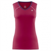Poivre Blanc Womens Tennis V Neck Tank In Wine Red and Navy
