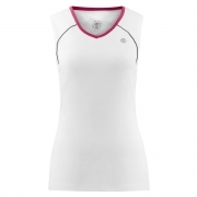 Poivre Blanc Womens Tennis V Neck Tank In White and Wine Red