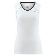 Poivre Blanc Womens Tennis V Neck Tank In White and Shadow Grey