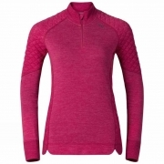 Odlo Revolution X-Warm 1/2 Zip Shirt Womens Baselayer in Sangria