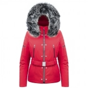 Poivre Blanc Belted Stretch Womens Ski Jacket in Scarlet Red