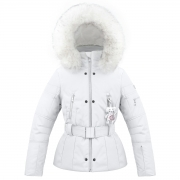 Poivre Blanc Belted Junior Girls Ski Jacket in White