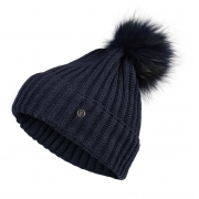 Bogner Leonie Womens Designer Ski Hat in Navy with Navy Pom