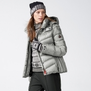 Bogner Sally 3 D Womens Ski Jacket in Silver with Luxe Trim