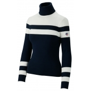 Fusalp Stripe Knit Midlayer Top in Navy