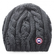 Canada Goose Chunky Cable Knit Womens Hat In Dark Grey