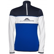 J.Lindeberg Kimball Stripe T Neck Midlayer in Strong Blue