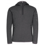 J.Lindeberg Logo Hood Midlayer Top in Grey Melange