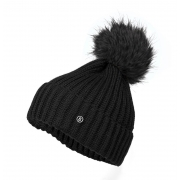 Bogner Leonie Womens Designer Ski Hat in Black with Black Pom